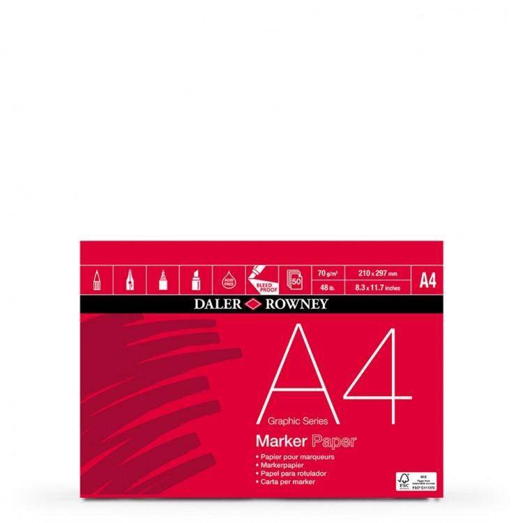 Daler Rowney : Marker Pad : 70gsm : 50 Sheets : A4