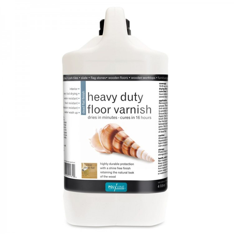 Polyvine : Hard Wearing Floor Varnish : Dead Flat Finish : 4 Litre : By Road Parcel Only