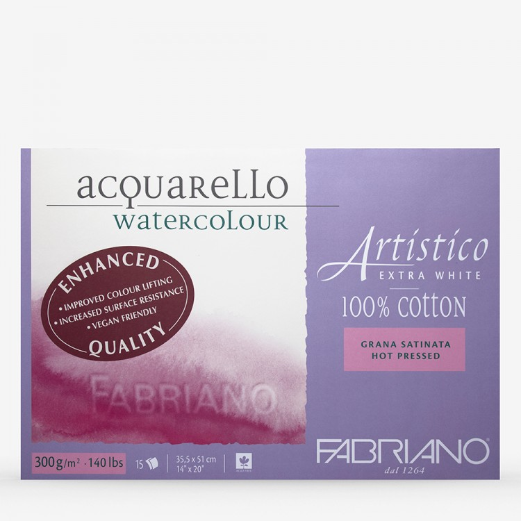 Fabriano : Artistico : Block : 14x20in : 15 Sheets : Extra White : HP