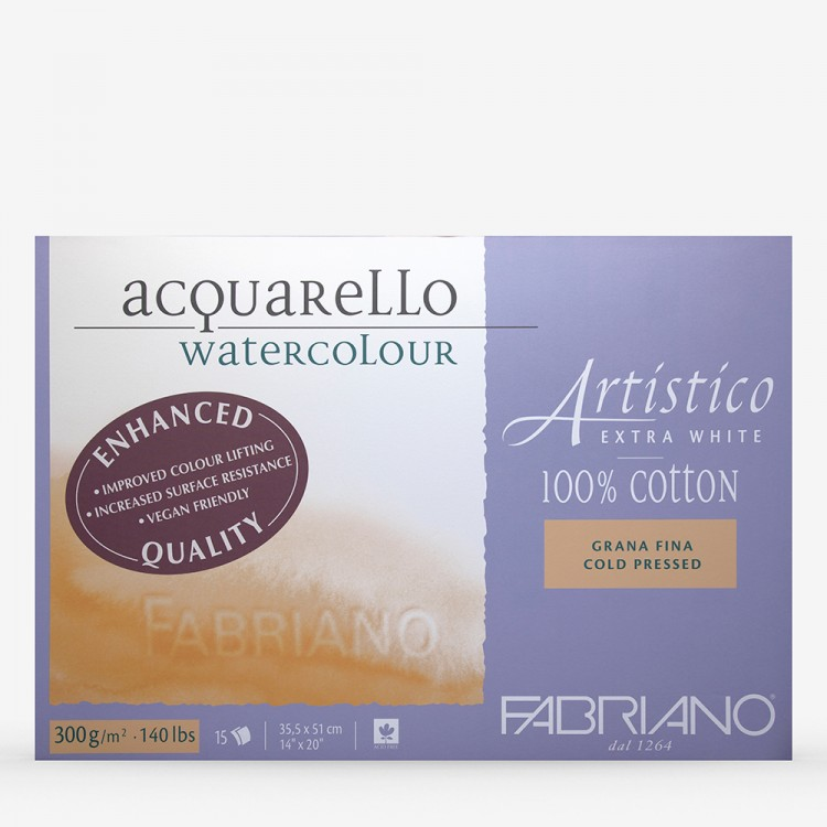 Fabriano : Artistico : Block : 140lb : 14x20in : 15 Sheets : Extra White : Not