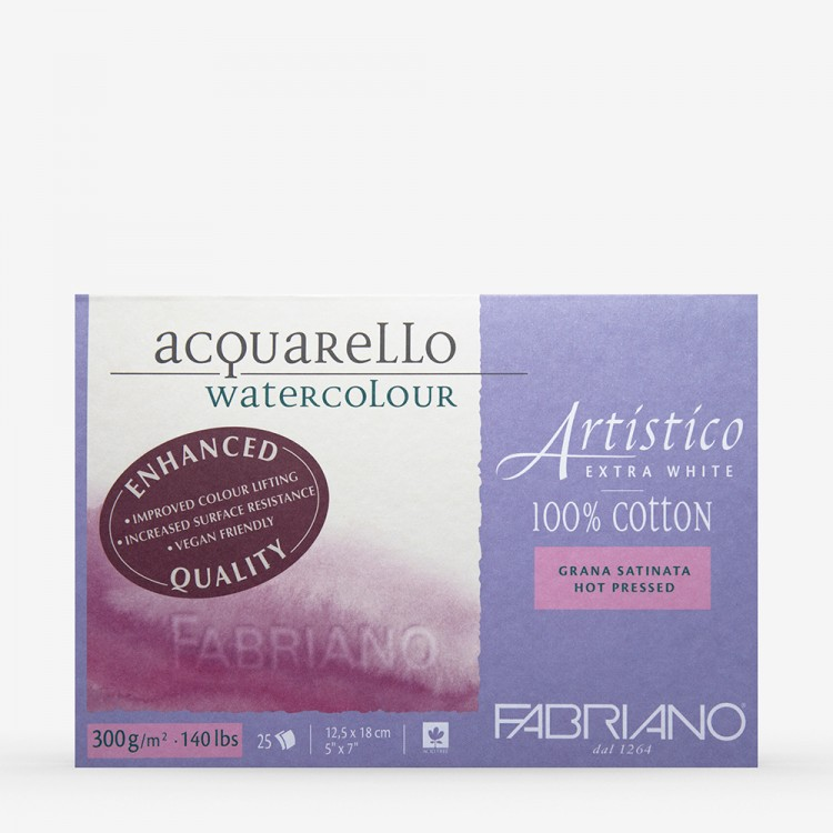 Fabriano : Artistico : Block : 5x7in : 25 Sheets : Extra White : HP