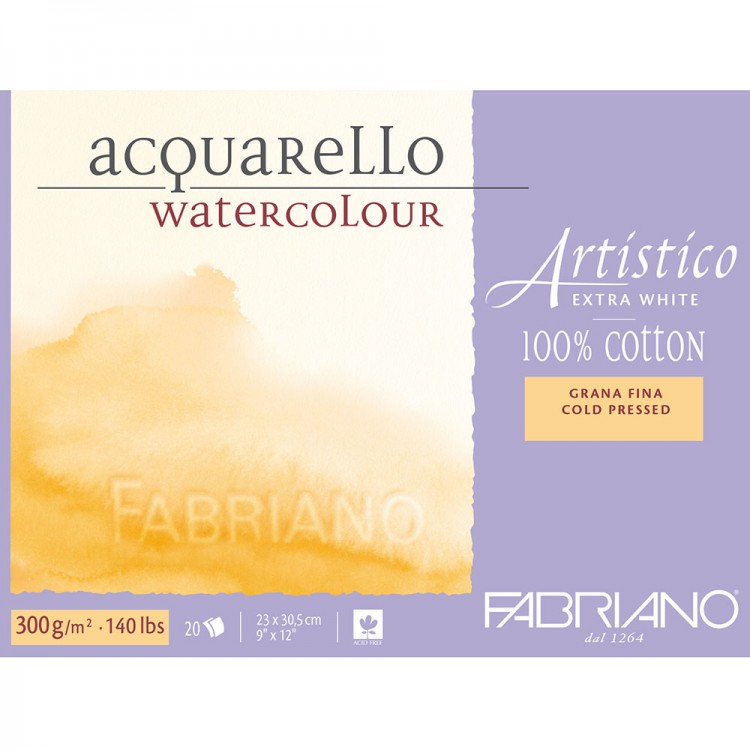 Fabriano : Artistico : Block : 140lb : 9x12in : 20 Sheets : Extra White : Not