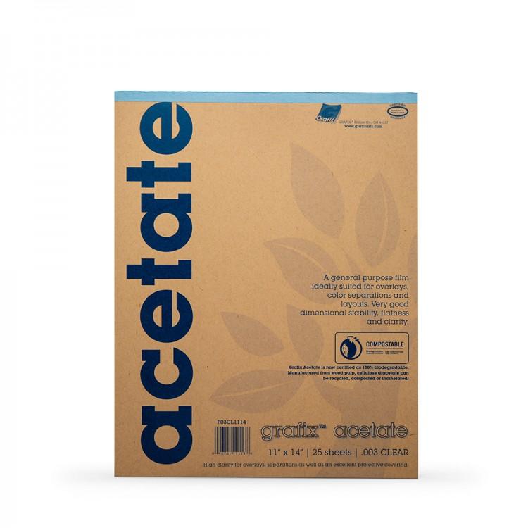 Grafix : Clear Acetate Pad 11x14in 0.003 : 25 Sheets