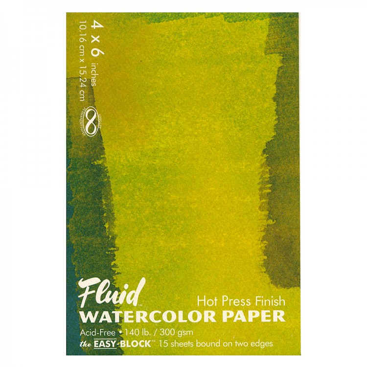 Global : Fluid Easy Block : Watercolour Paper : 300gsm : 4x6in : Hot Pressed