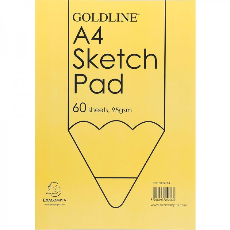 Goldline : Glued Sketch Pad : 95gsm : 210x297mm (A4 21x29.7cm)
