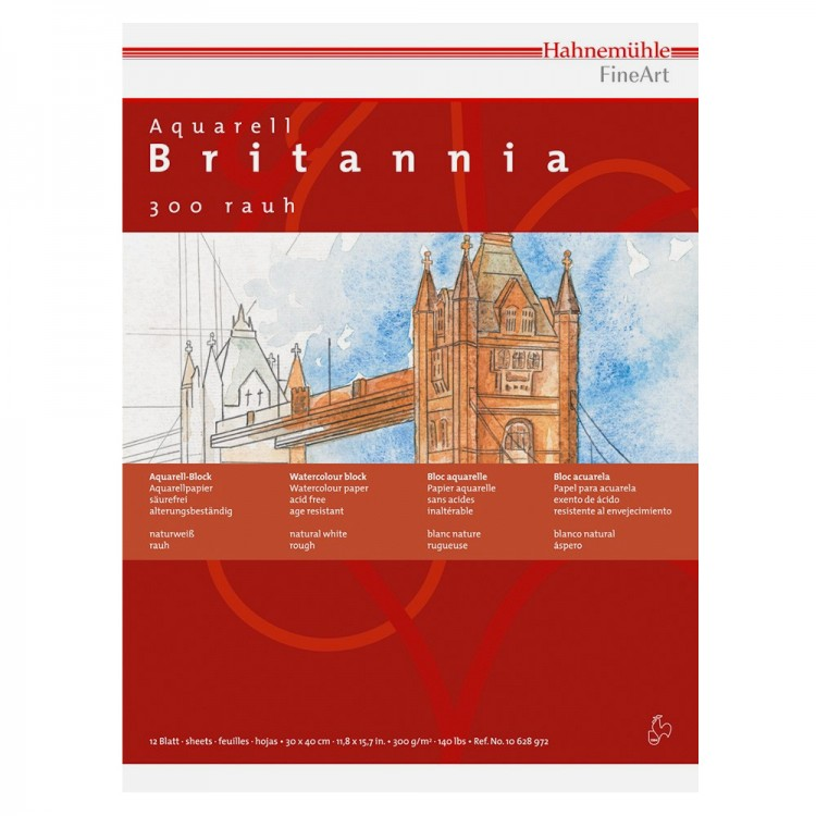 Hahnemuhle : Britannia : Watercolour Paper : 300gsm : 50x65cm : Pack of 10 Sheets : Not