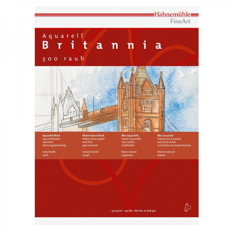 Hahnemuhle : Britannia : Watercolour Paper : 300gsm : 50x65cm : Pack of 10 Sheets : Rough