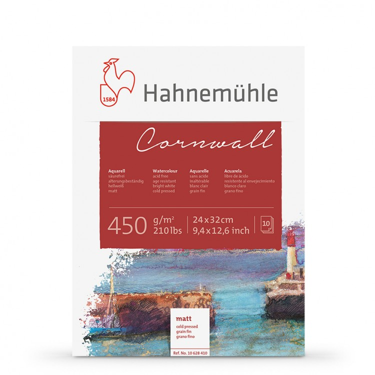 Hahnemuhle : Cornwall : Block : 450gsm : 210lb : 24x32cm : 10 Sheets : Not