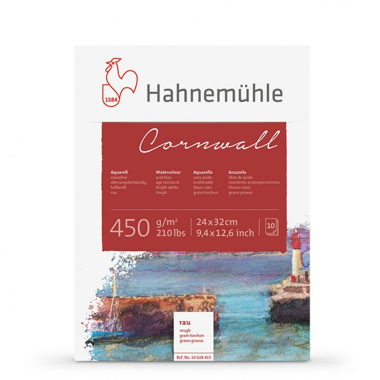 Hahnemuhle : Cornwall : Block : 450gsm : 210lb : 24x32cm : 10 Sheets : Rough