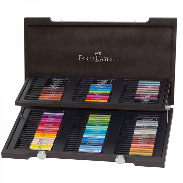 Faber Castell : Pitt Artists Pen : Wood Box Set of 90