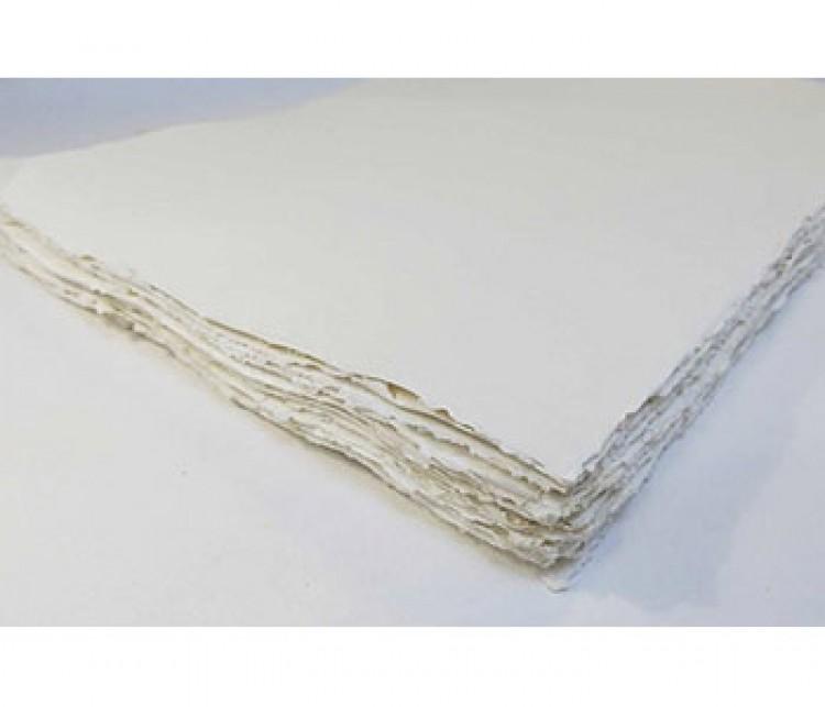 Khadi White Rag Landscape Paper 320gsm : Rough : 35x70cm : 10 Sheets