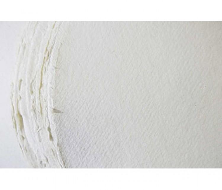 Khadi White Rag Round Paper 320gsm : Rough : 56cm Diameter