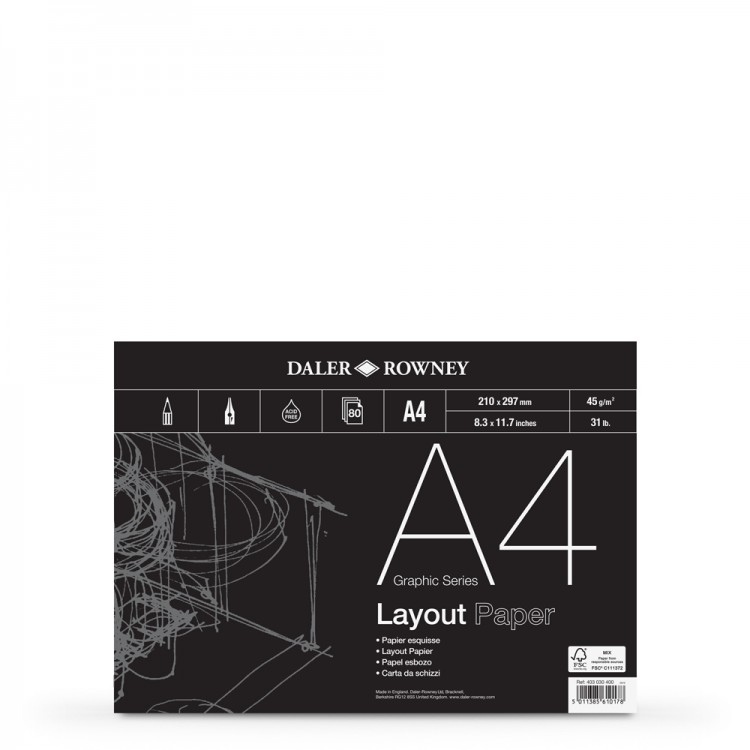 Daler Rowney : Layout Pad : 45gsm : 80 sheets : A4