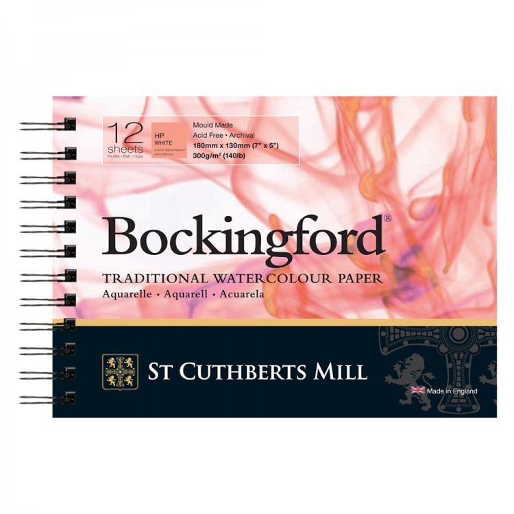 Bockingford : Spiral Pad : 5x7in : 300gsm : 12 Sheets : Hot Pressed