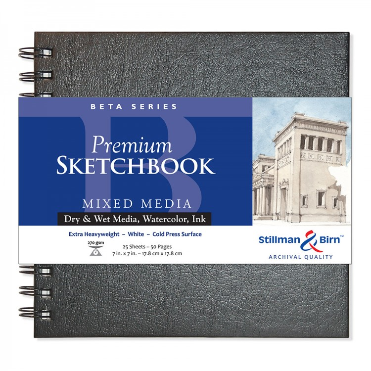 Stillman & Birn : Beta Sketchbook 7 x 7in Wirebound 270gsm - Natural White Cold Press/Rgh