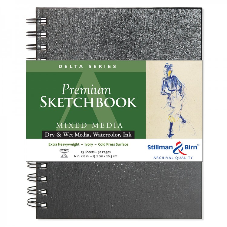 Stillman & Birn : Delta Sketchbook 6 x 8in Wirebound 270gsm - Ivory Cold Press/Rgh