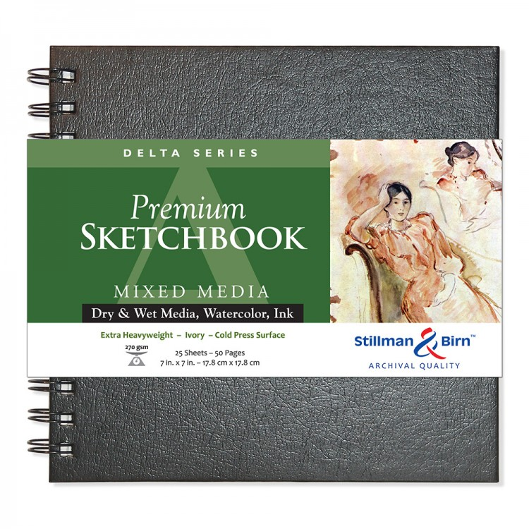 Stillman & Birn : Delta Sketchbook 7 x 7in Wirebound 270gsm - Ivory Cold Press/Rgh