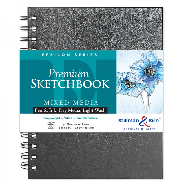 Stillman & Birn : Epsilon Sketchbook 6 x 8in Wirebound 150gsm - Natural White Smooth
