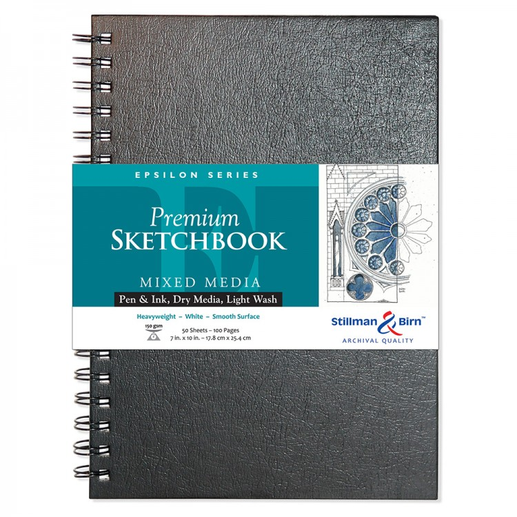 Stillman & Birn : Epsilon Sketchbook 7 x 10in Wirebound 150gsm - Natural White Smooth