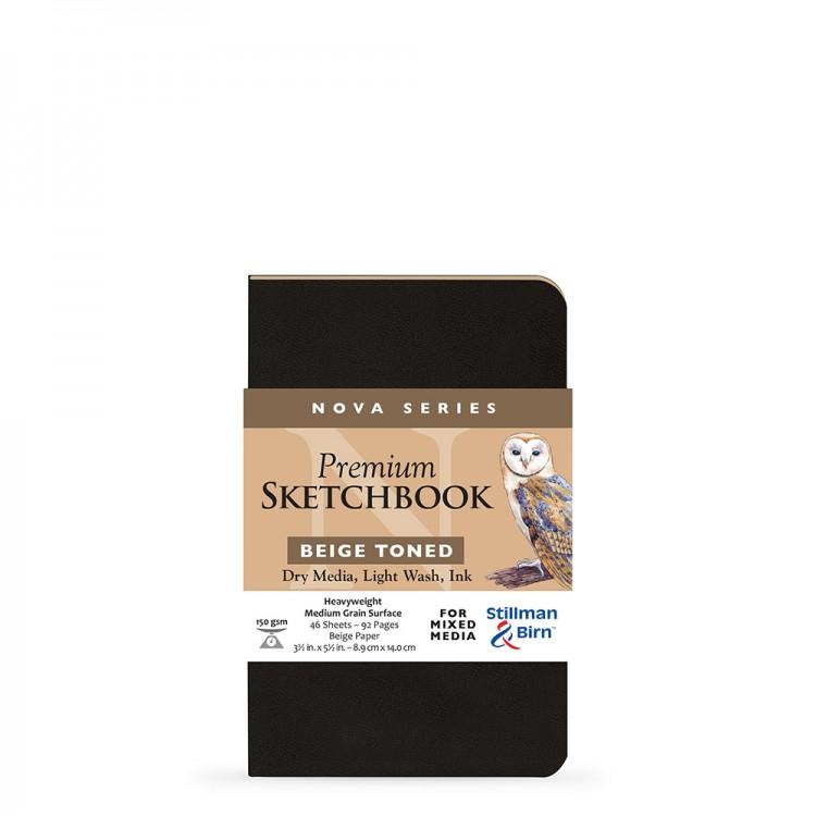 Stillman & Birn : Nova : Softcover Mixed Media Sketchbook : 150gsm : 3.5x5.5in (8.9x14cm) : Beige