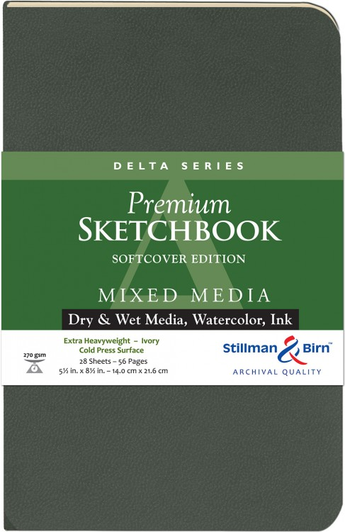 Stillman & Birn : Delta Softcover Sketchbook : 270gsm : Cold Press : 5.5x8.5in (22x14cm) : Portrait
