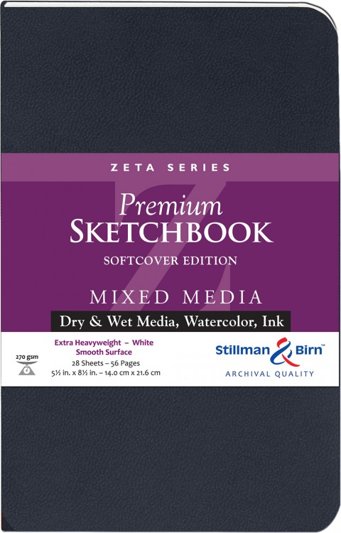 Stillman & Birn : Zeta Softcover Sketchbook : 270gsm : Smooth : 5.5x8.5in (22x14cm) : Portrait