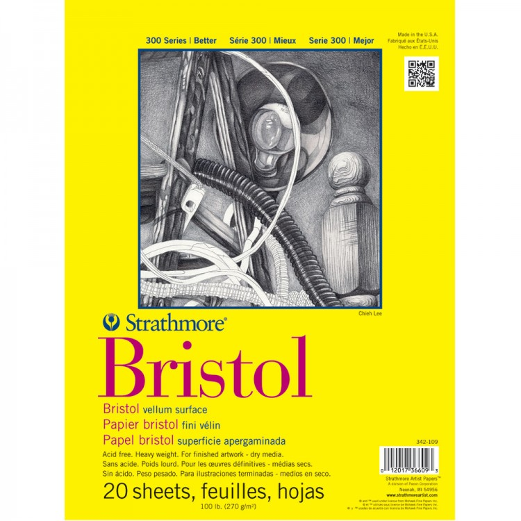 Strathmore : 300 Series : Bristol Paper : Pad : 11x14in : 20 Sheets : Vellum