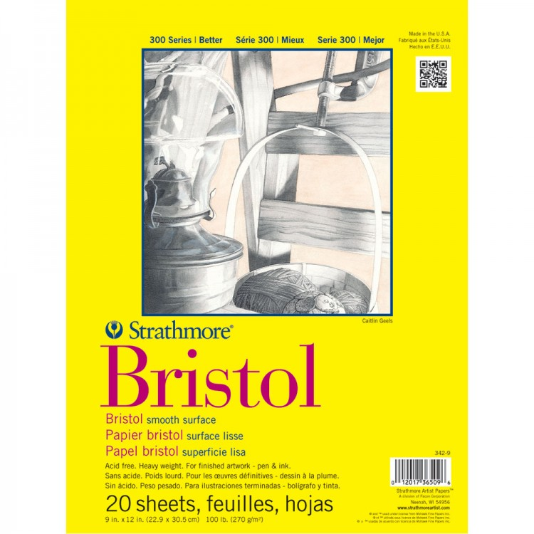 Strathmore : 300 Series : Bristol Paper : Pad : 9x12in : 20 Sheets : Smooth