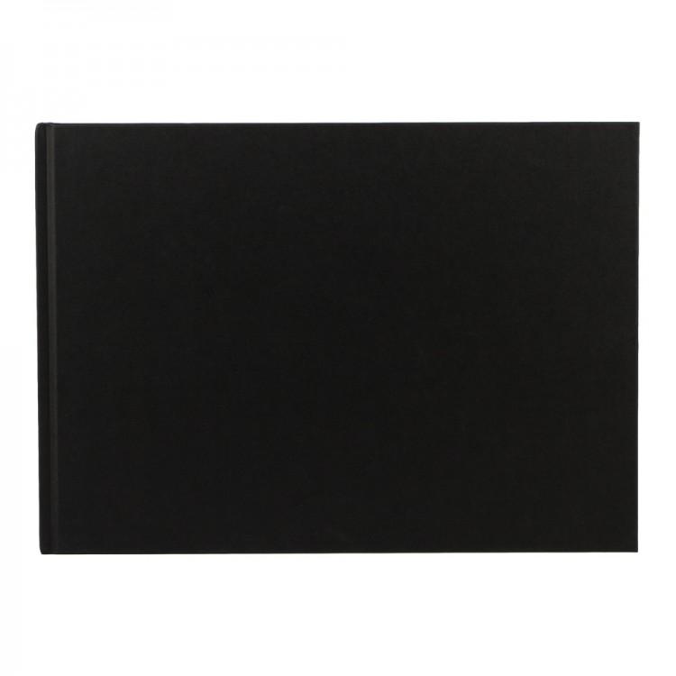 Seawhite : Jackson's : Black Cloth Case Bound Sketchbook 140gsm : A4 Landscape