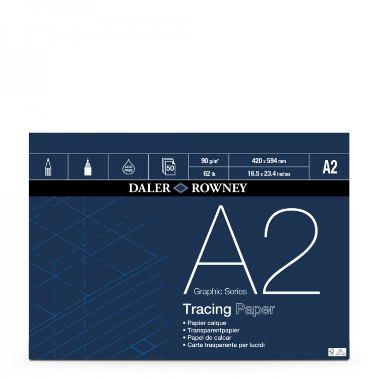 Daler Rowney : Tracing Pad : 90gsm : 50 sheets : A2