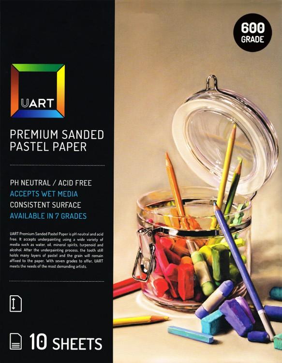 UART : Sanded Pastel Paper : 10 Sheet Pack : 9x12in (23x30cm) : 600 Grade
