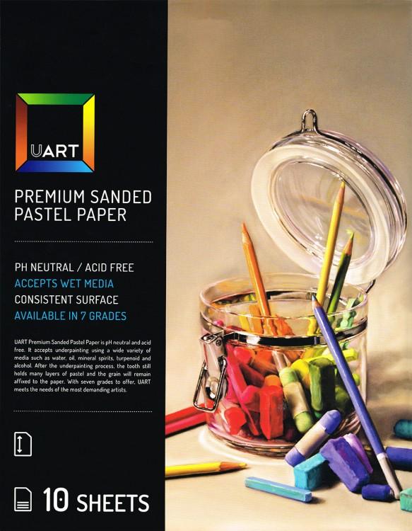 UART : Sanded Pastel Paper : 10 Sheet Pack : 9x12in (23x30cm) : 800 Grade