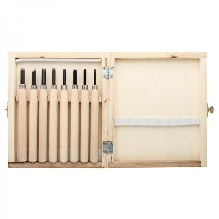 JAS : Wood Cut Knife : Wooden Box Set of 8