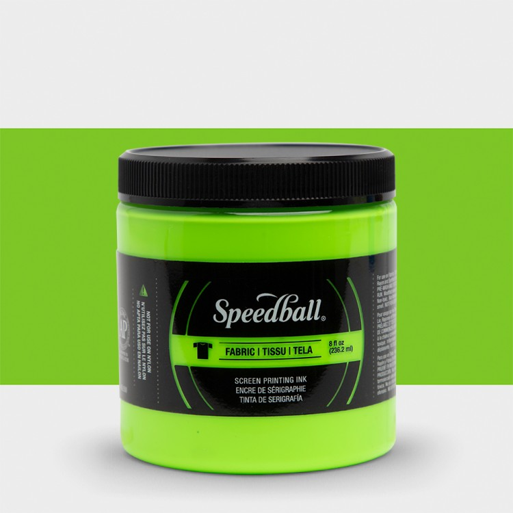 Speedball : Fluorescent Fabric Screen Printing Ink : 8oz : Lime Green
