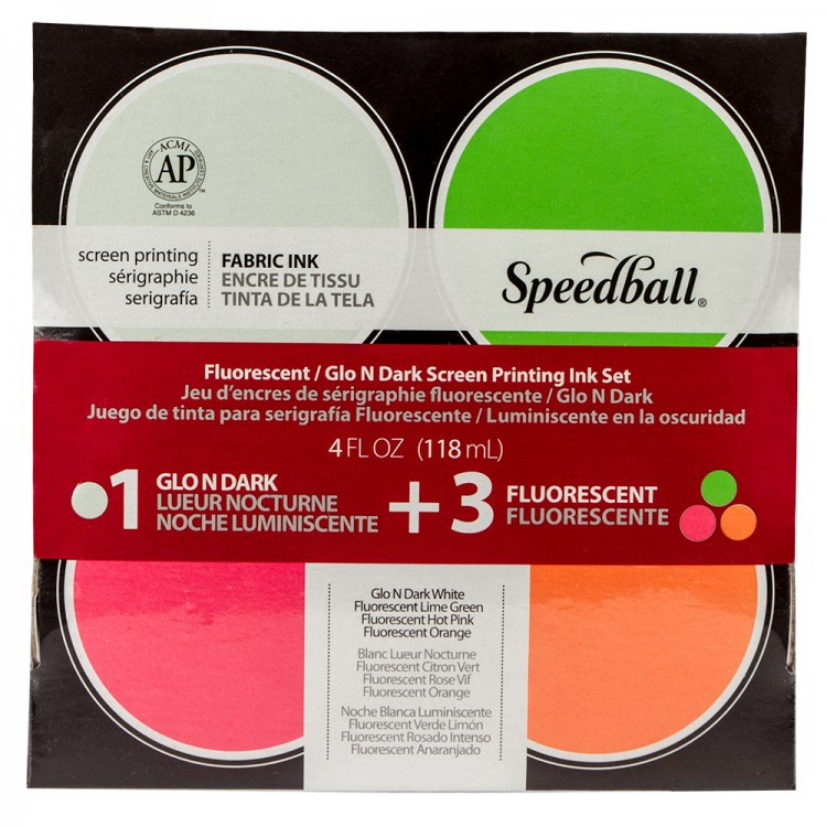 Speedball : Glo n' Dark & Fluorescent Fabric Screen Printing Ink Se : Set of 4 x 4oz