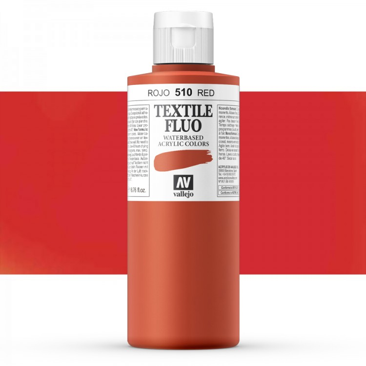 Vallejo : Textile Paint : 200ml : Fluorescent Red