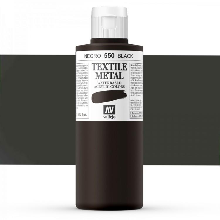 Vallejo : Textile Paint : 200ml : Metallic Black Pearl
