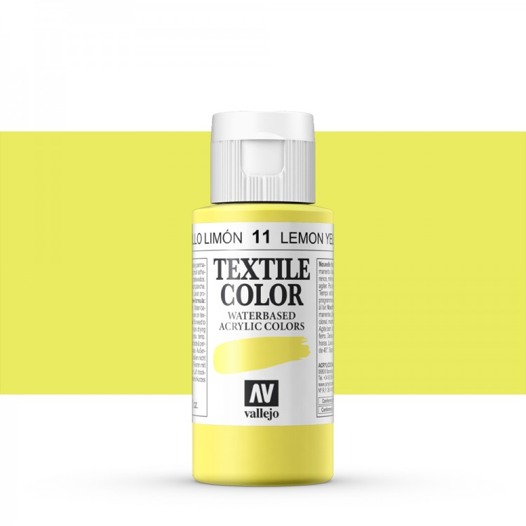 Vallejo : Textile Paint : 60ml : Lemon Yellow