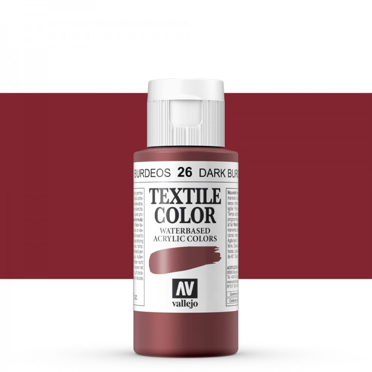 Vallejo : Textile Paint : 60ml : Dark Burgundy