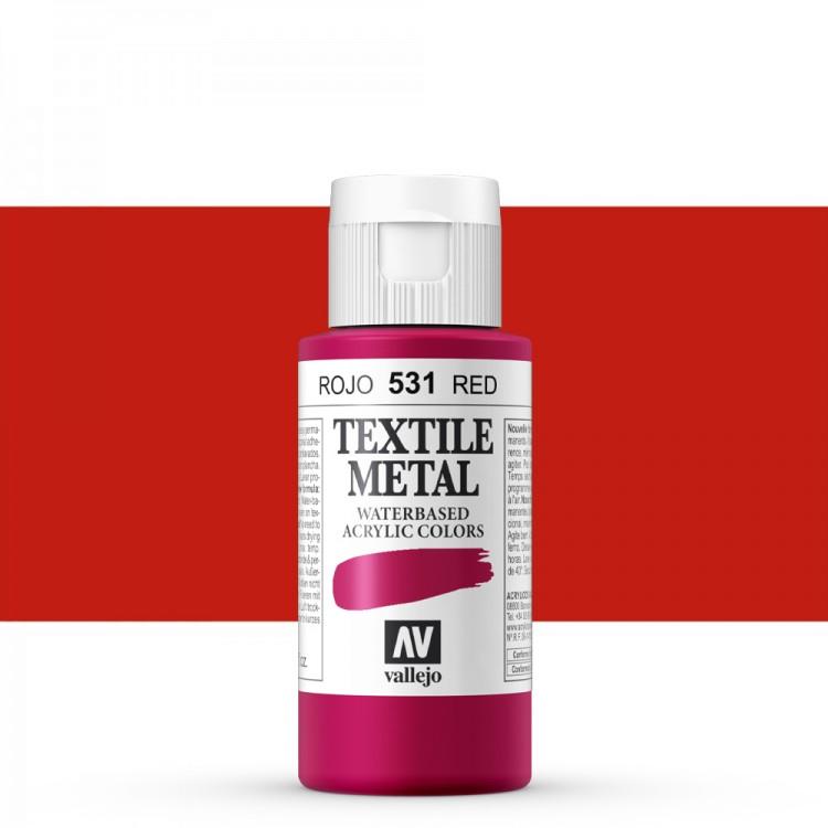 Vallejo : Textile Paint : 60ml : Metallic Red