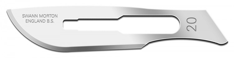 Swann Morton : Scalpel Blade No 20 for No.4 Handle (pack of 5)
