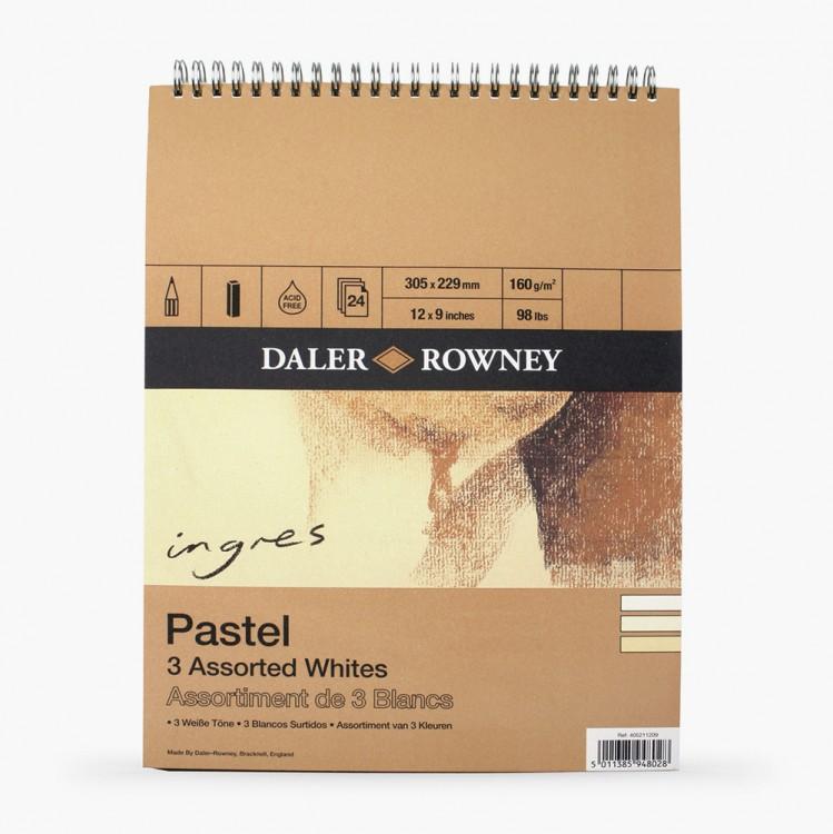 Daler Rowney : Ingres : Pastel Paper : 160gsm : 24 Sheets : 9x12in : White