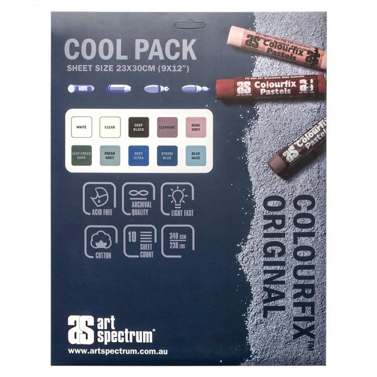 Art Spectrum : Colourfix Original : Pastel Paper : 340gsm : 23x30cm : Cool Tones : Pack of 10 Sheets