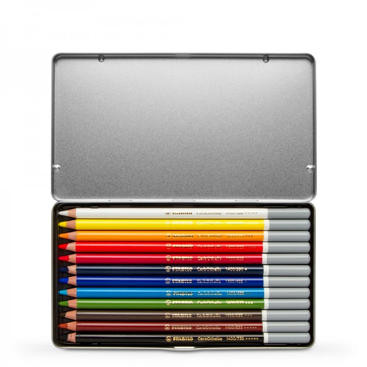 Stabilo : Carbothello : Pastel Pencil : Metal Tin Set Of 12