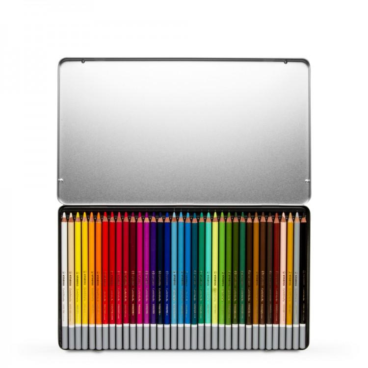 Swan Stabilo : Carbothello : Pastel Pencil : Metal Tin Set Of 36