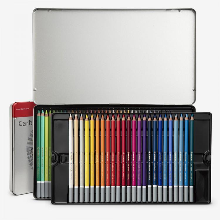 Stabilo Carbothello : Pastel pencils 60 in metal tin ~ in metal tin with sharpener - kneadable eraser - blender