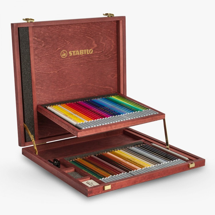 Stabilo Carbothello : Pastel Pencil Set of 60 in a lovely wooden box with sharpener - kneadable eraser