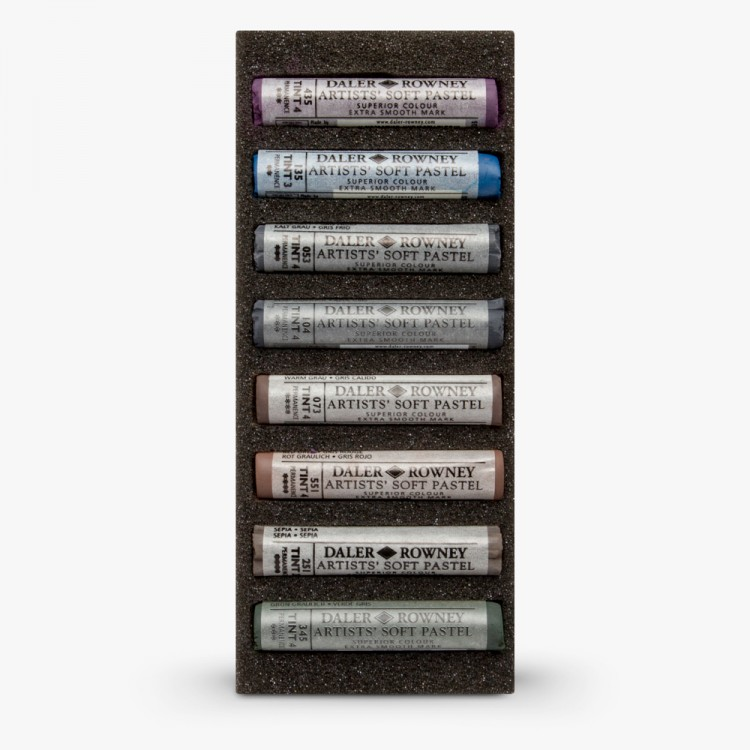Daler Rowney : Artists' Soft Pastel : Set of 8 : Grey Selection