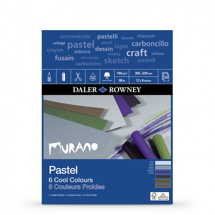 Daler Rowney : Murano : Pastel Pad : 9x12in : Cool Colours