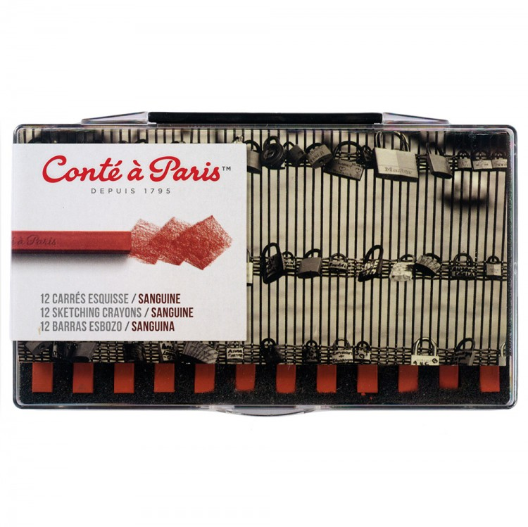Conte Carres Crayon Set : hard-baked square pastels : Box of 12 Sanguine